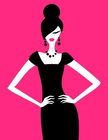 jewel: Illustration of a fashion model posing in an elegant black dress