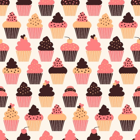 cupcake illustration: Seamless pattern with cute cupcakes