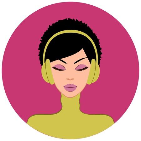 갈색 머리: 아름 다운 갈색 머리 여자가 음악을 듣고 그림