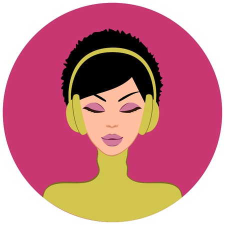 make up woman: Illustration of a beautiful brunette woman listening to music