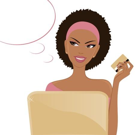 american african: Illustrazione di una giovane donna afro-americana di fronte a un computer portatile, in possesso di un credito di credito e sorridente