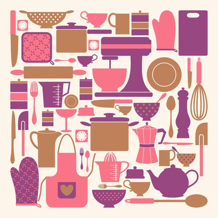 A set of kitchen items in pink, purple and brown