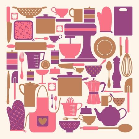 utencilios de cocina: Un conjunto de artículos de cocina en color rosa, púrpura y marrón