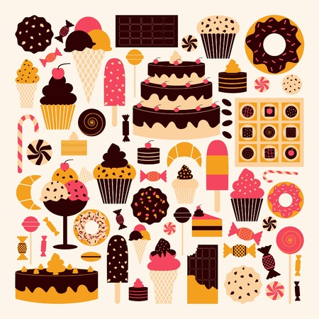 A set of dessert icons in brown, pink and orange