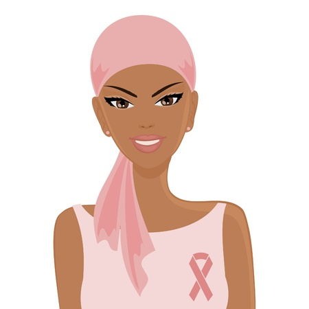 Illustration of a smiling African-American woman wearing headscarf and a pink ribbon  Breast cancer awareness concept  Illustration