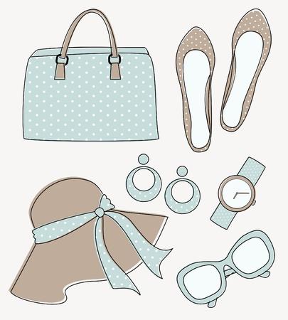 pastel colours: Un conjunto de elegantes accesorios de moda femeninos en colores pastel Vectores