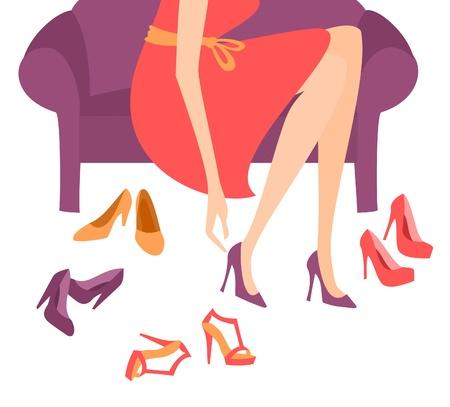red couch: Illustrazione di una donna che cerca su eleganti tacchi alti