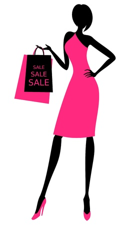 feminine background: Illustration of a young elegant woman holding shopping bags