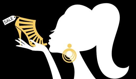 шопоголика: Иллюстрация женщина целовать обувь с продажи тег