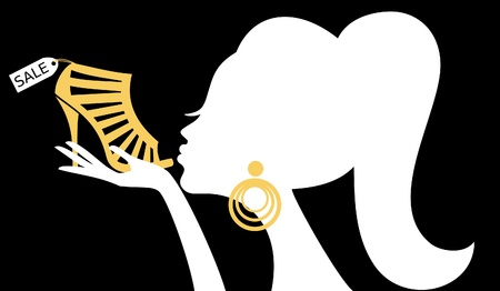 WOMAN SILHOUETTE: Illustration of a woman kissing a shoe with a sale tag