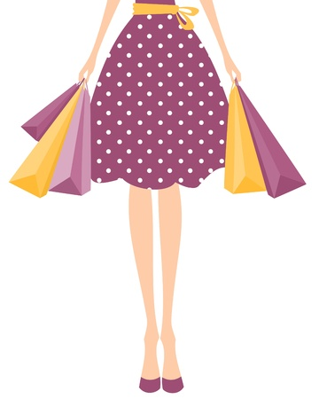 Illustration of a girl in cute polka dot dress holding shopping bags. Vector