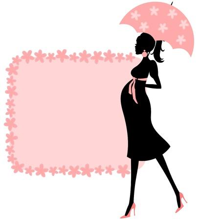 invitacion baby shower: Ilustraci�n de una mujer joven embarazada y un marco bonito de flores en color rosa. Perfecto para la invitaci�n de la ducha del beb�, Vectores