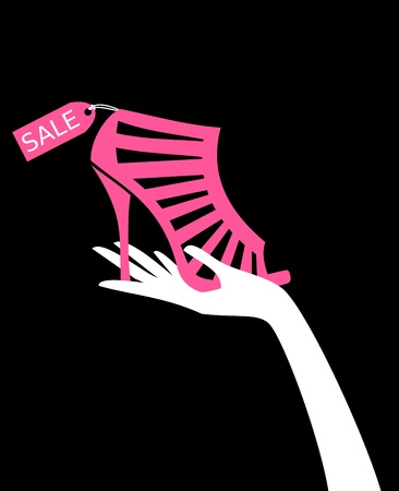 Illustration of a female hand holding elegant high-heeled shoe with sale tag.