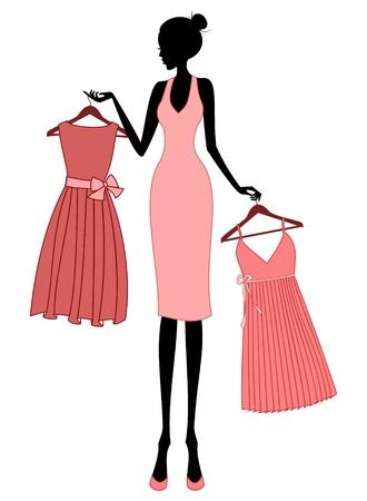 Ilustración de una mujer joven de compras para un vestido elegante.
