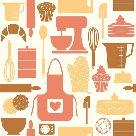 bake: pattern, seamless, seamless pattern, kitchen, baking, bake, cook, cooking, bakery, wallpaper, retro, vintage, style, cute, old-fashioned, muffin, cupcake, cookie, croissant, whisk, bowl, spatula, rolling pin, measuring cup, oven mitt, apron, spoon, cuttin Illustration