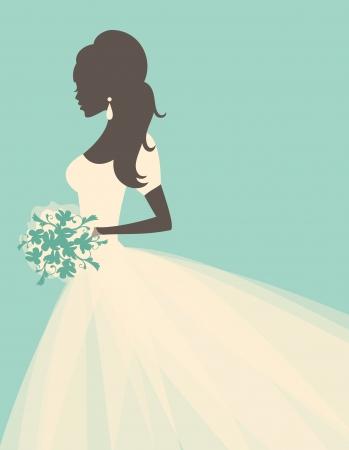 ウェディングドレス: 花を持って美しい花嫁のイラスト。