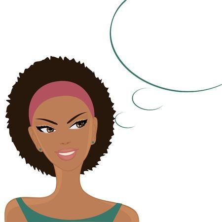 frau denken: Illustration eines sch�nen l�chelnden afro-amerikanisches M�dchen mit einem leeren Gedanken  Sprechblase auf wei�em Hintergrund. Illustration