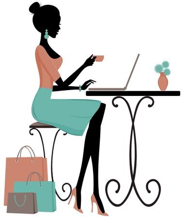 using laptop: Illustrazione di una giovane donna elegante, un caff� e l'utilizzo di un computer portatile.