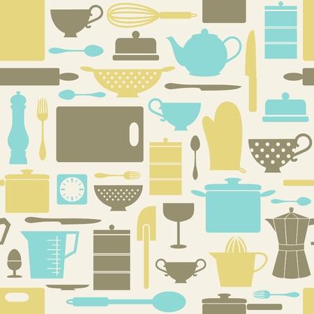 Naadloos patroon met keuken artikelen in retro stijl. Vector Illustratie