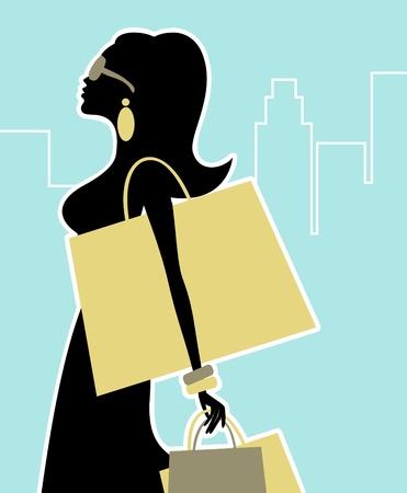 compras chica: Ilustraci�n de una mujer elegante de compras en la ciudad.