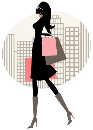 shopper: Illustration eines eleganten Frau beim Einkaufen in der Stadt.