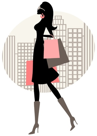glamorous: Illustration of a chic woman shopping in the city. Illustration
