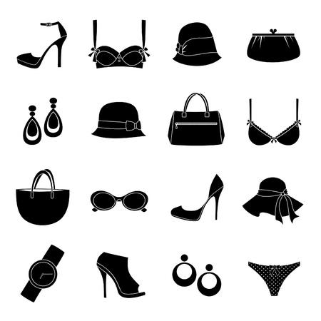 Un set di 16 accessori di moda femminili delle icone isolato su sfondo bianco.