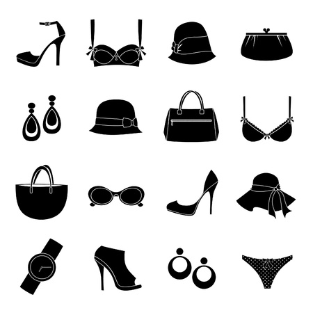 bra: A set of 16 female fashion accessories icons isolated on white background.