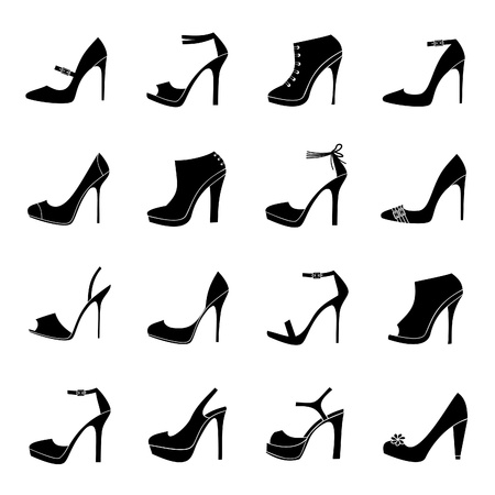 high heel shoes: A set of 16 female shoes icons isolated on white background.