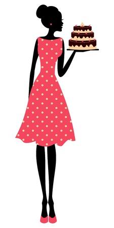 Ilustración de una linda chica retro que sostiene una torta Vectores