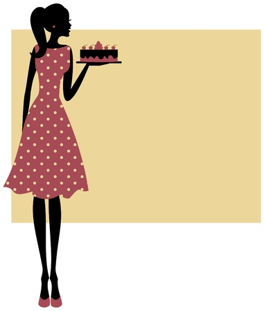 Illustratie van een leuke retro meisje met een cake plaats voor uw tekst