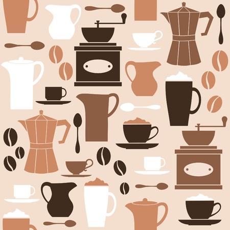 macinino caffè: Seamless pattern in stile retr� con gli elementi relativi caff� Vettoriali