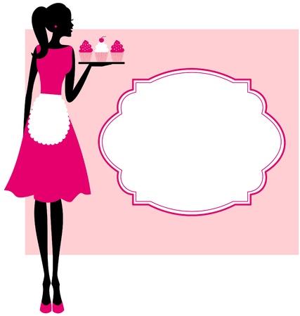 Ilustración de una linda chica retro sosteniendo una bandeja con pastelitos y un marco sobre fondo de color rosa