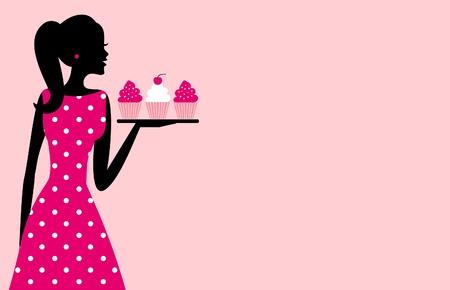 Illustratie van een leuke retro meisje met een dienblad met cupcakes tegen roze achtergrond plaats voor uw tekst