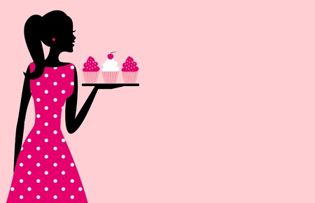 Illustration of a cute retro girl holding a tray with cupcakes against pink background  Place for your text