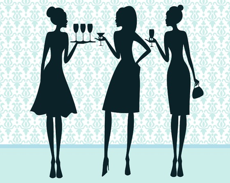 guests: Illustration of three elegant women at a cocktail party