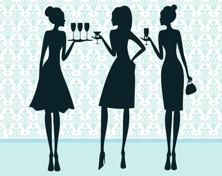 guests: Ilustraci�n de tres mujeres elegantes en un c�ctel