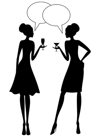 gossiping: Illustration of two young women having a converstion at a cocktail party  Illustration