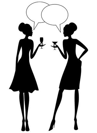black lady talking: Ilustraci�n de dos mujeres j�venes que tienen un converstion en una fiesta Vectores