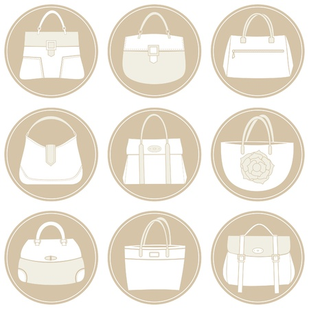 A set of 6 elegant female bags icons in white and beige  Vector