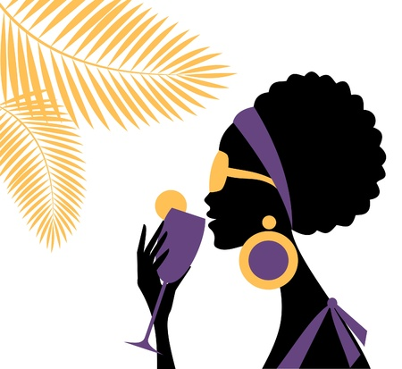 afro girl: Illustration of a beautiful young woman drinking a refreshing cocktail on a hot summer day