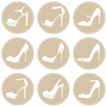 A set of 9 elegant female shoes icons in white and beige  Vector