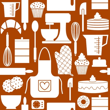 old kitchen: Seamless pattern in retro style with kitchen and baking items  n Illustration
