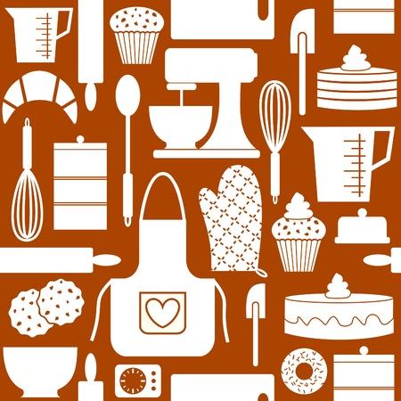 fartuch: Szwu w stylu retro z kuchniÄ… i przedmioty pieczenia n