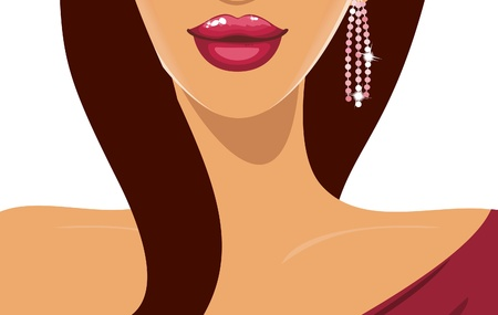 Illustration of a young beautiful woman with luscious pink lips  Vector