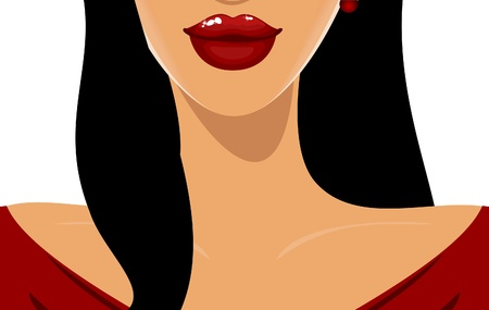 Illustration of a young beautiful woman with luscious red lips  Vector