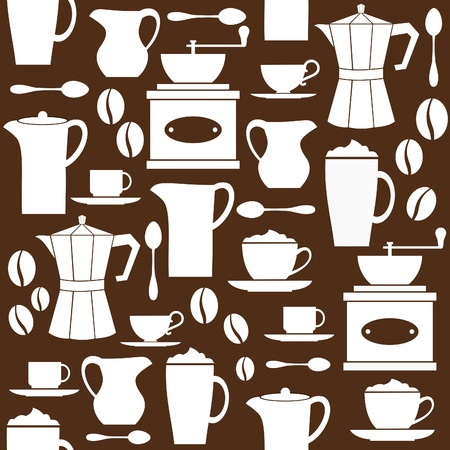 with coffee maker: Seamless pattern in retro style with coffee related items
