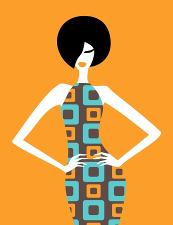 chic woman: Illustration of a fashion model posing in an elegant retro dress  Illustration