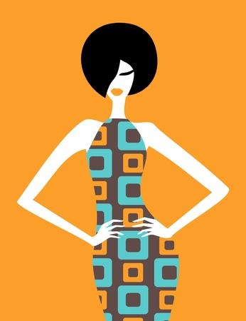 abito elegante: Illustrazione di una modella in posa in un abito elegante retr�