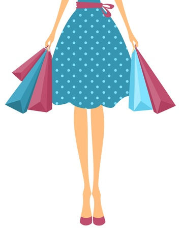 shopper: Illustration of a girl in cute polka dot dress holding shopping bags